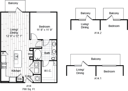 788 sq. ft. A14 floor plan