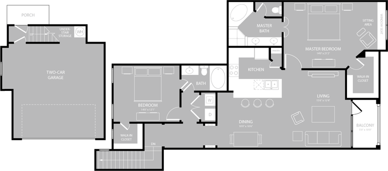 1,381 sq. ft. B4 floor plan