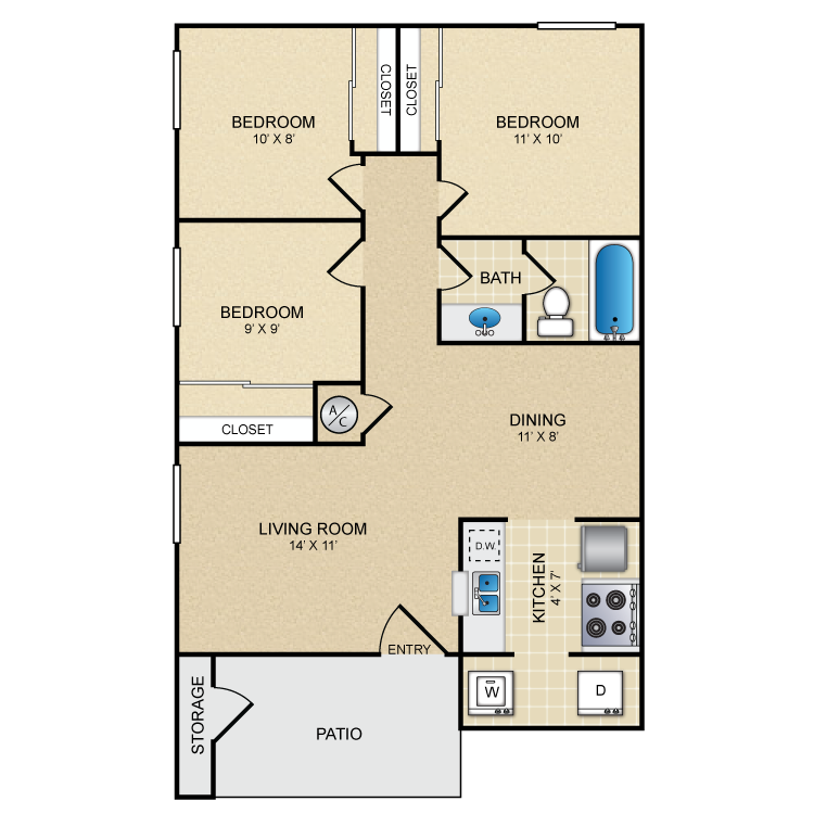 950 sq. ft. El Solamar floor plan