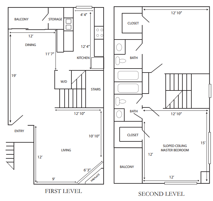1,197 sq. ft. G-B1 floor plan