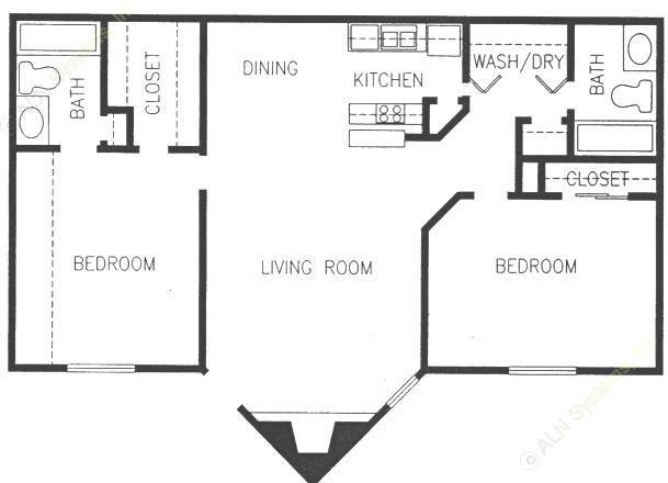 878 sq. ft. 2BR floor plan