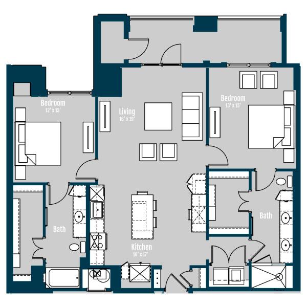 1,390 sq. ft. B5 floor plan
