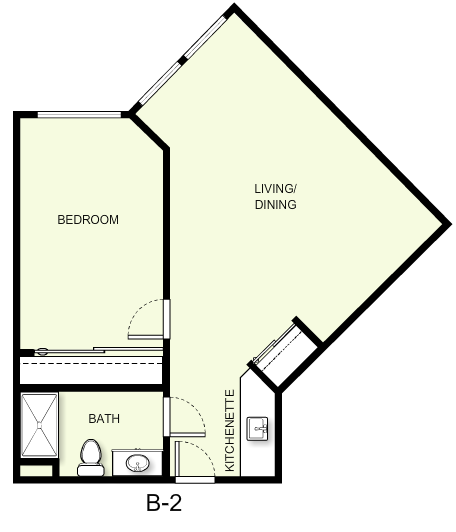670 sq. ft. B2 floor plan