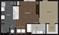 727 sq. ft. 1B floor plan