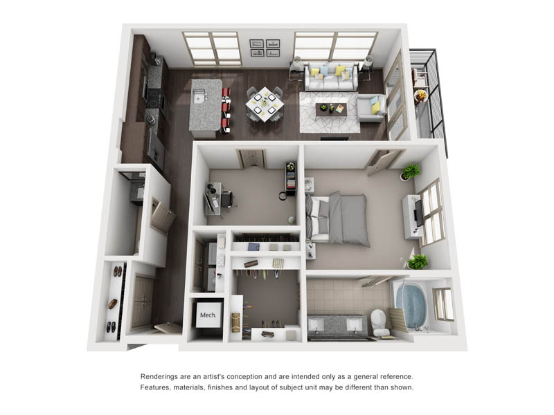 988 sq. ft. A19 floor plan
