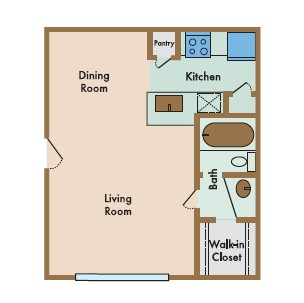 480 sq. ft. Dolce floor plan