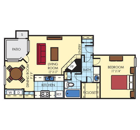 788 sq. ft. A1 floor plan