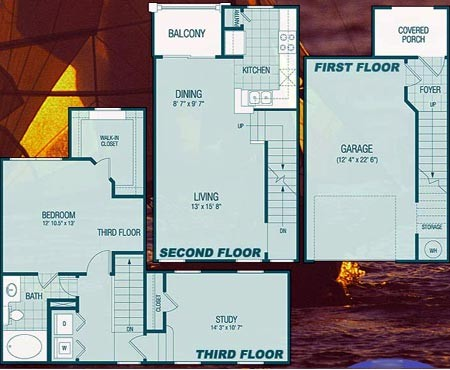 1,054 sq. ft. A2 Lakeside floor plan