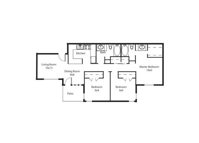 1,131 sq. ft. C1 floor plan