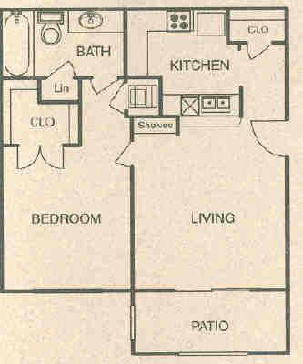 572 sq. ft. A floor plan