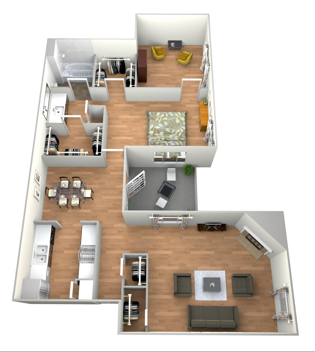 909 sq. ft. 1x1 S floor plan