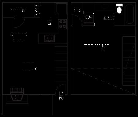708 sq. ft. T2 floor plan