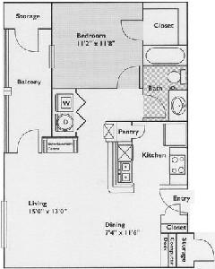 732 sq. ft. Birch floor plan