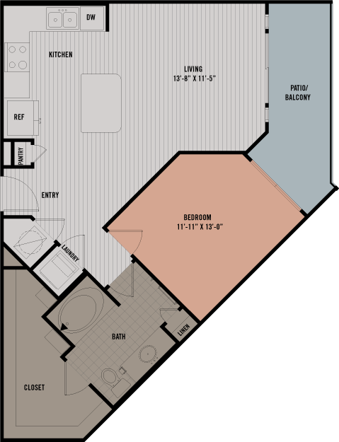 761 sq. ft. A5 floor plan
