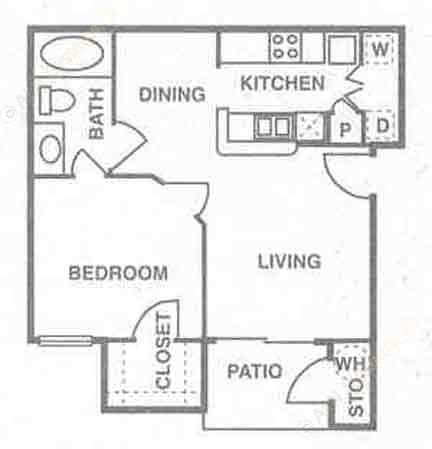 600 sq. ft. to 684 sq. ft. Saint Kitts floor plan