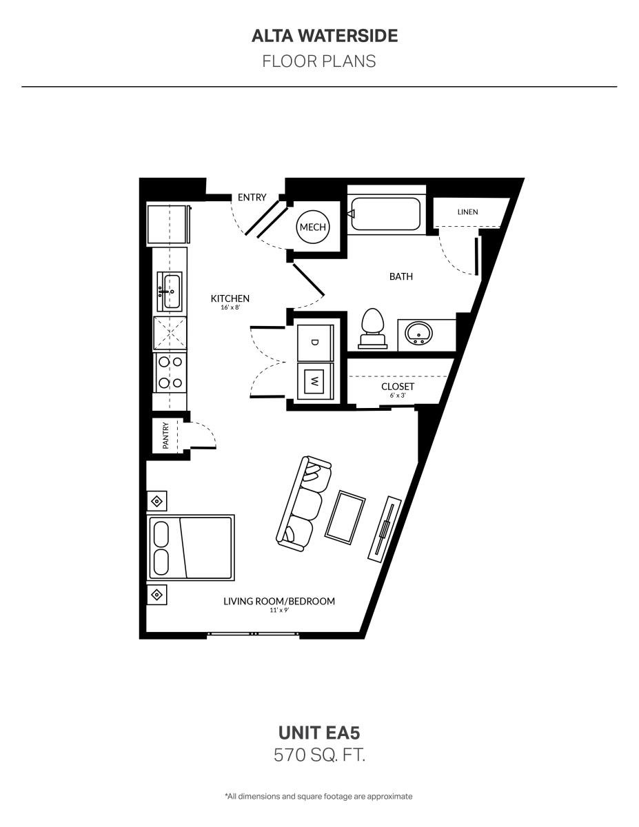 570 sq. ft. EA5 floor plan
