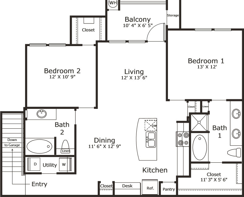 1,198 sq. ft. B5G floor plan