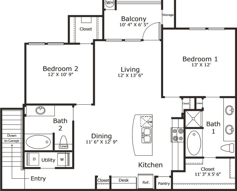 1,198 sq. ft. B5G floor plan