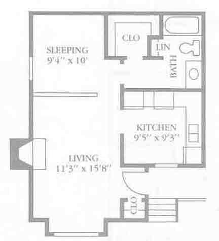 492 sq. ft. E floor plan
