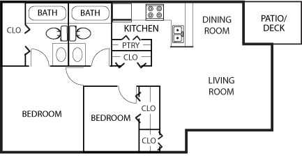 1,025 sq. ft. B2-50% floor plan