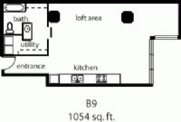 1,054 sq. ft. B9 floor plan