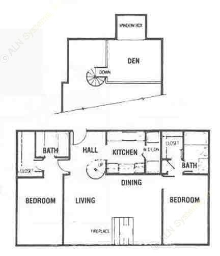 1,088 sq. ft. B4 floor plan
