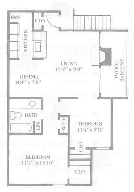 826 sq. ft. B1 floor plan