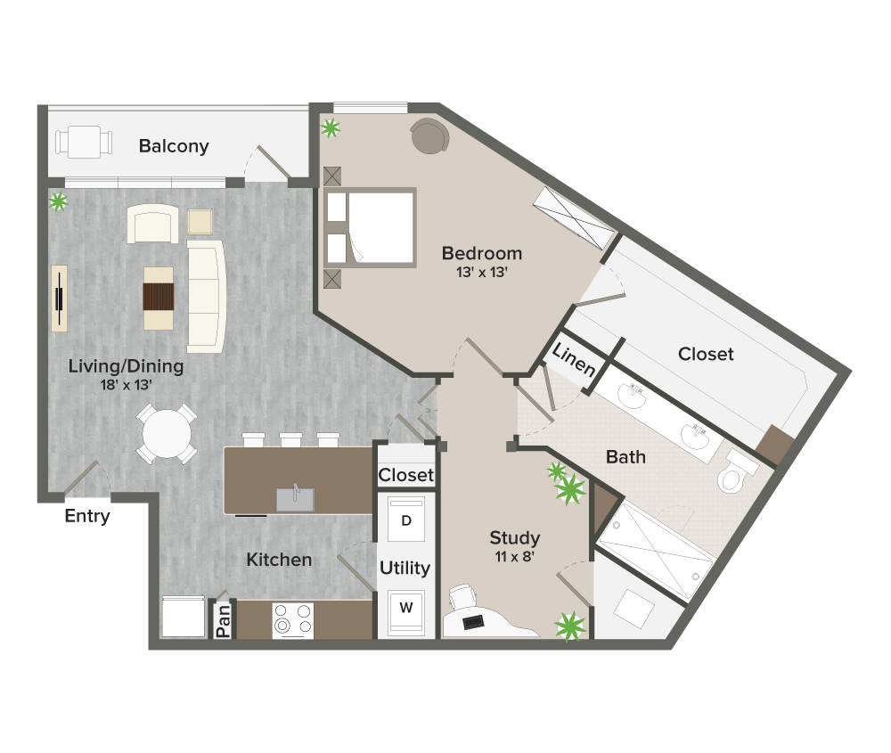 1,005 sq. ft. Marmion-A11 floor plan