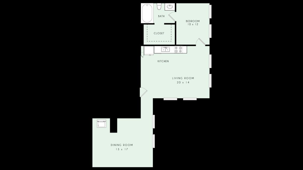 979 sq. ft. A29 MKT floor plan