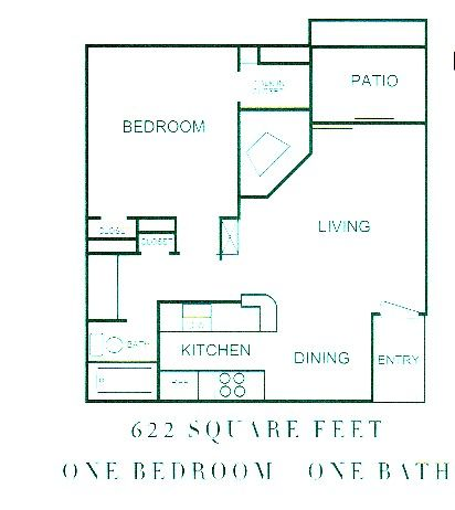 622 sq. ft. Ashford floor plan