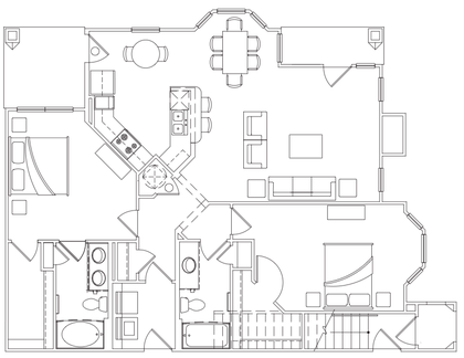 1,298 sq. ft. B-2 Lower floor plan
