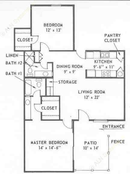1,200 sq. ft. B floor plan