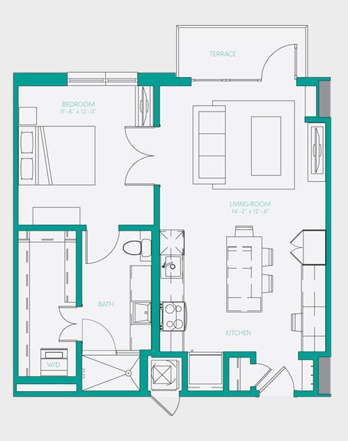 729 sq. ft. A1.7 floor plan