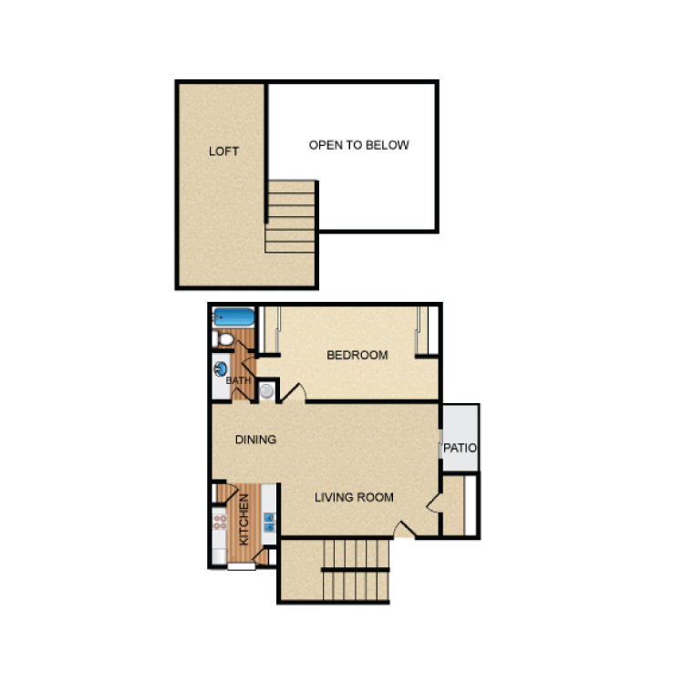 914 sq. ft. A6 floor plan