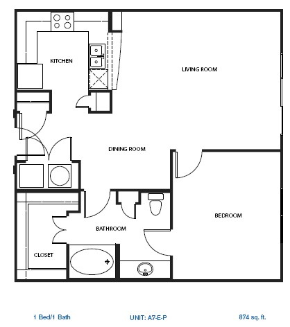 907 sq. ft. 3A2 floor plan