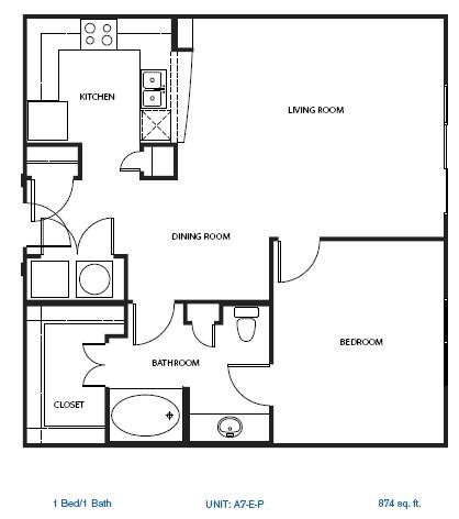 892 sq. ft. A7-P floor plan