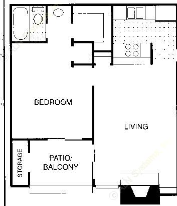 566 sq. ft. B floor plan