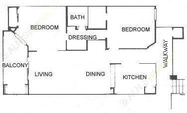 810 sq. ft. 2B floor plan