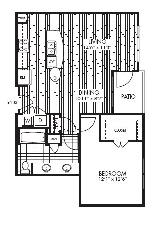 841 sq. ft. A2 floor plan