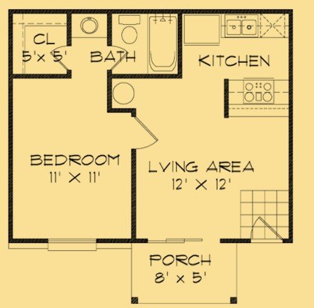 440 sq. ft. A floor plan