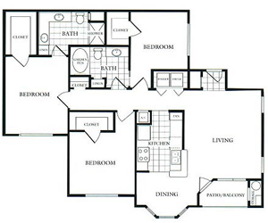 1,300 sq. ft. G floor plan
