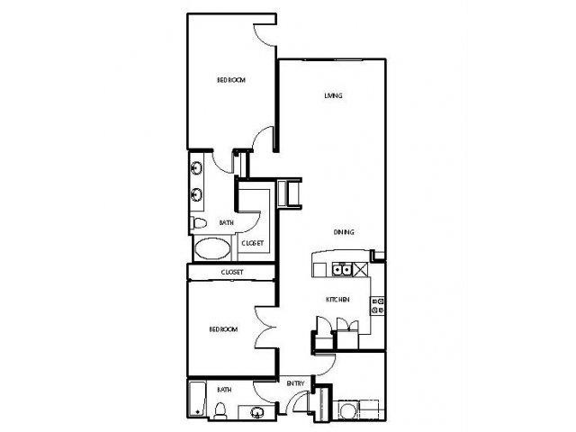 1,391 sq. ft. P3 floor plan