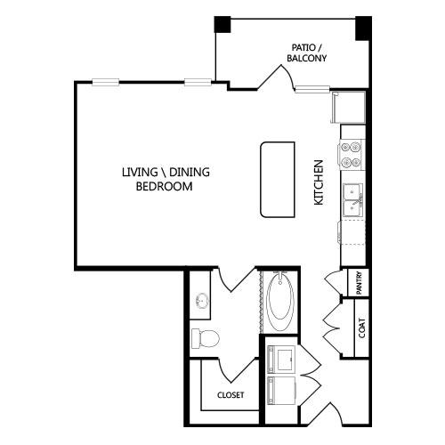 803 sq. ft. E1 floor plan