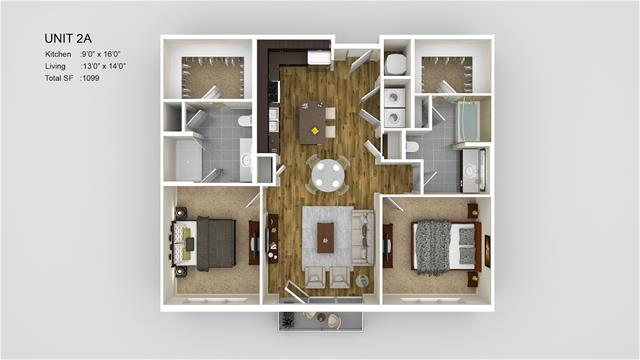 1,099 sq. ft. 2A floor plan