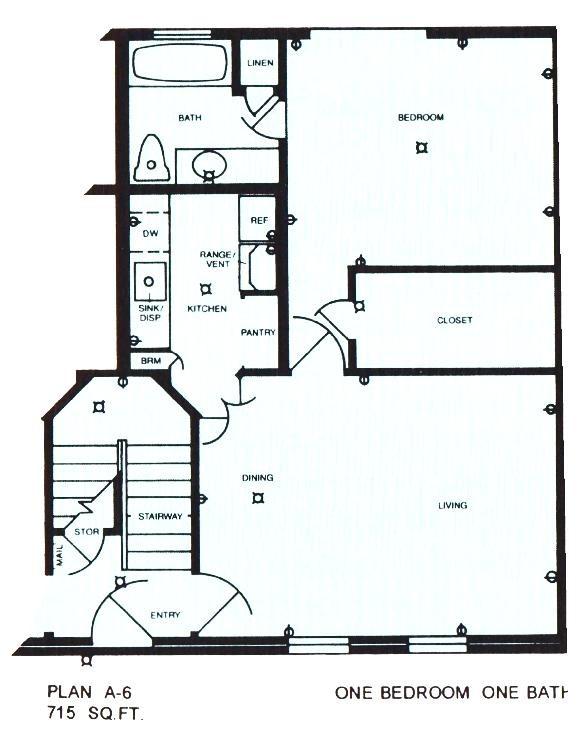 715 sq. ft. ABP floor plan