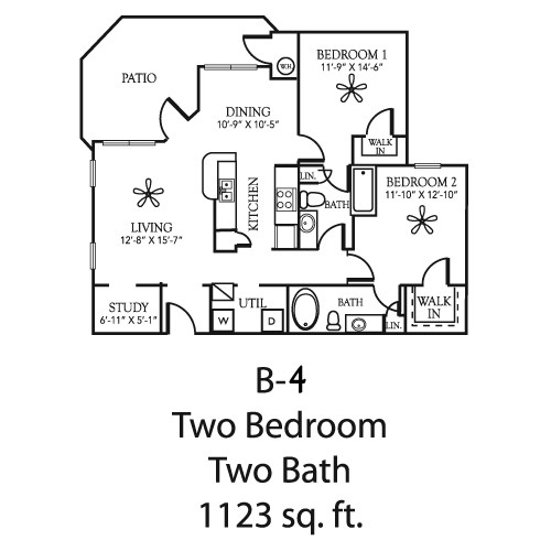1,123 sq. ft. B4 floor plan