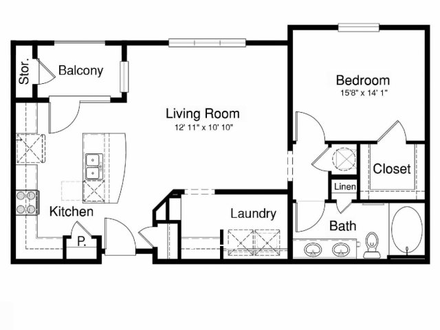 843 sq. ft. A2-H floor plan