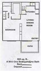 505 sq. ft. A floor plan