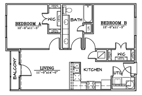 811 sq. ft. B3 floor plan