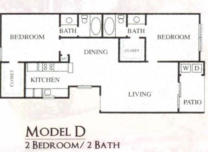 980 sq. ft. 60% floor plan